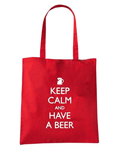 T-Shirtshock - Borsa Shopping TR0084 Keep Calm And Have A Beer 25mm 1 Pin Badge Button British WWII - Spoof Fun Rosso