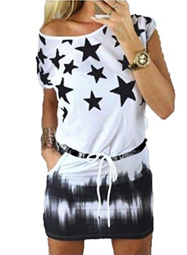 JC.Kube Damen Tshirt Kleider Mini Sommerkleid Schwarz