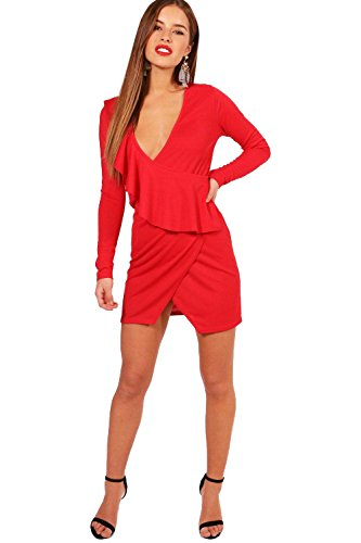 YourPrimeOutlet Red Womens Petite Julie Ruffle Crepe Wrap Dress