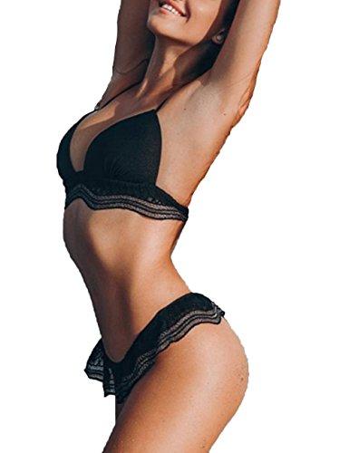 Junshan Bikini damen set push up Elegant Lace Weiß und Schwarz Bikini Sets Neckholder Bandage Bikini Strandmode Bademode (40, Schwarz) (Push-up Lace Bademode)