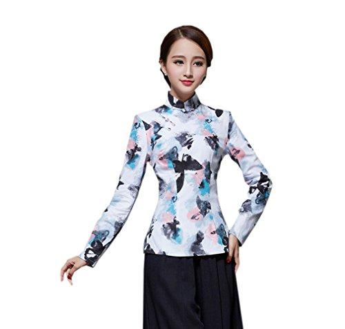 ACVIP Femme Chic Veste de Tang Blouse avec Manche Longue Motif Fleur en Coton de Chanvre,10 Couleurs D