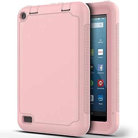 Étui Kindle Fire 7, HB-Int Housse Protecteur en Silicone Coque avec PC Interne Ultra Slim Léger et Antichoc Case pour Amazon Kindle Fire 7 - Rose