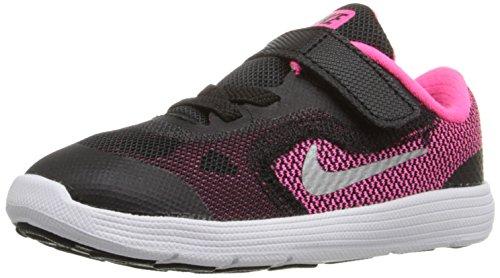 Nike Baby Jungen Revolution 3 (Tdv) Schuhe für Neugeborene, - noir / Plateado / Rosa / Blanc (Black / Mtllc Slvr-Hypr Pnk-Wht), EU 17 (US 2C) (Baby-mädchen Neugeborenen-nike Schuhe)
