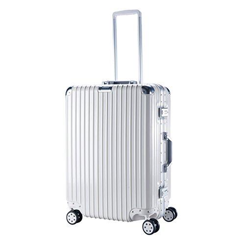 【タビトラ】TABITORA スーツケース TSAロック 超軽量 ABS+PC 鏡面 アルミフレーム ファスナーレス 白 XL