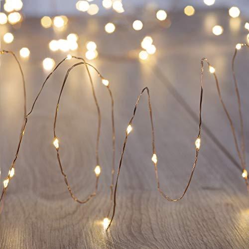 DecoKing 46722 Catena Luminosa 2 x 60 LED Micro Diodo LED Stringa di Luce Fata Luci su Golden Wire Timer Telecomando Warm White Static Indoor e Outdoor Batteria Decorazione Natalizia Addobbi di Natale