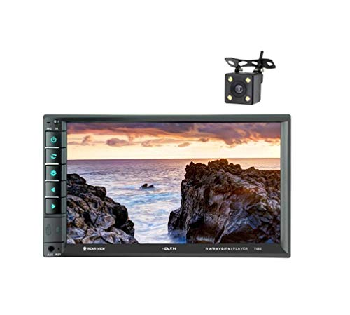 AZWE Autoradio Double Din, 7 Zoll Touchscreen im Armaturenbrett Autoradio Receiver Audio Video Player Unterstützt Bluetooth/Tf/Usb/Aux/Mit Rückfahrkamera Audio - / Video-interconnect