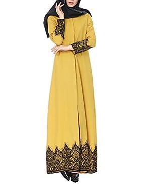 Mujer Cardigan- Diadia Musulmana Mujeres Encaje Trimmed Delantero Abaya Musulmán Maxi Kaftan Kimono para Vacaciones...