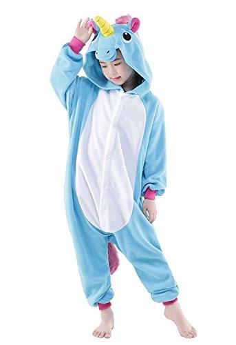 DarkCom Kinder Einhorn-Onesies Cartoon Pyjamas Nachtwäsche Halloween Kigurumi Cosplay Kostüme Blau