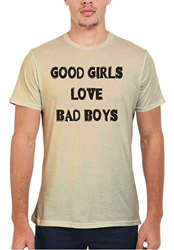 Good Girls Love Bad Boys Cool Men Women Damen Herren Unisex Top T Shirt Sand(Cream)