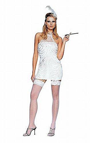 Avenue Kostüm Flapper Leg - Leg Avenue - 4-Teiler. Perlenverziertes Flapper Kostüm - M/L - weiß - 8097