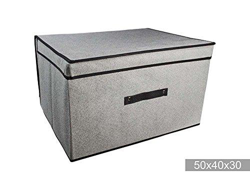 Vetrineinrete scatola abiti box salvaspazio per armadio organizzatore contenitore per vestiti scatole in tessuto per cambio di stagione (50x40x30 cm) f5