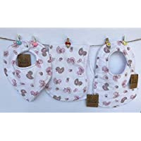 Baberos para bebés patos rosas conjunto de tres piezas