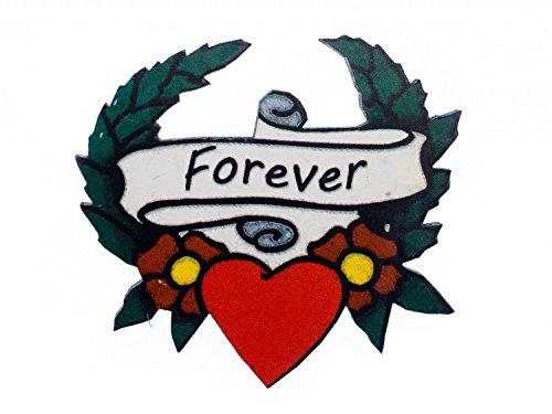 Forever Herz Brosche Miniblings Anstecknadel Tattoo Liebe Holz Lasercut 43mm (Holz Herzen Buttons)
