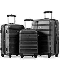 Travelhouse Merax Set of 3 Luggage Expandable Lightweight 4 Wheels Spinner Travel Trolley Suitcase Lock Luggage Set (Black)
