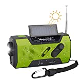 TKOOFN Solar Dynamo Kurbel Radio FM AM, Tragbares Multifunktion Outdoor Novelty Notfallradio mit 2000mAh als Power Bank/Leselampe Alarm/SOS Signal -