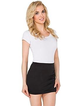 FUTURO FASHION Tubo Mujer Minifalda Elástico Verano Elástico Vestido Ceñido Plus Tallas 8-22 PA11