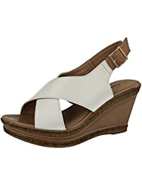 29271e508db5 Ladies Cushion Walk Wide E Fit Leather Lined Wedge Peep Toe Strappy Summer  Sandal Size 3