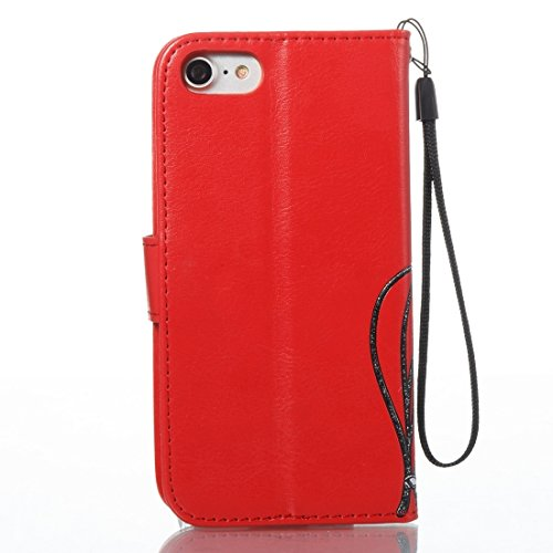 DaYiYang Pour iPhone 7 Horizontal Flip Leather Case Voltage Crazy Horse Texture avec Holder & Card Slots & Wallet & Lanyard ( Color : Brown ) Red