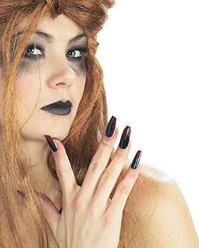 (Horror-Shop Schwarze Halloween Fingernägel mit blutigen Spitzen für Halloween & Karneval)