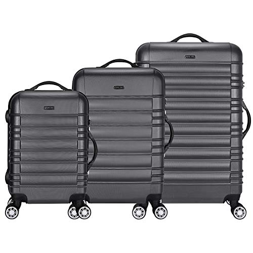 TRAVEL LORD Eco Serie Hartschalen Trolley Reisekoffer 54 | 64 | 74 cm, 32 | 72 | 88 Liter, 5 Farben (Space Grau, 3er Set)