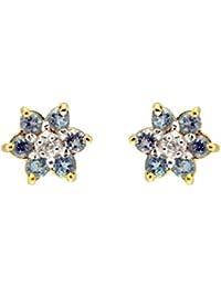 Bijoux pour tous 181E0019-38/9 - Pendientes de oro amarillo de 9 quilates con topacio azul (.01) con cierre de mariposa a presión