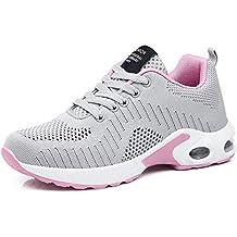 70fbb5025537e Zapatillas Deportivas de Mujer Air Cordones Zapatillas de Running Fitness  Sneakers 4cm Negro Rojo Rosado Púrpura