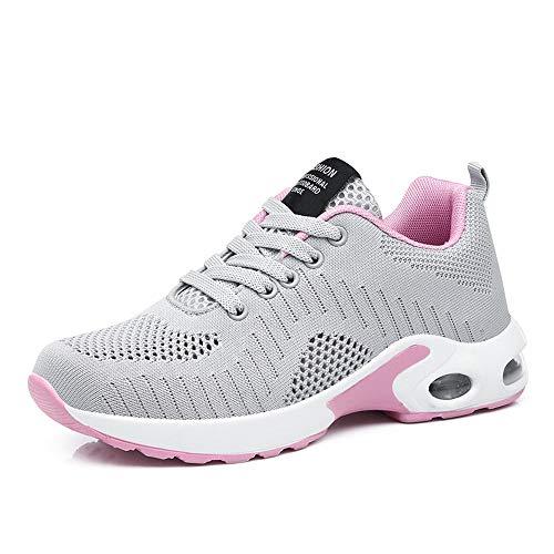 men Air Gymnastik Strasenlauf Schuhe Schnuren Freizeitschuhe Grau Violett Rot Rosa Weis Grau 41 ()
