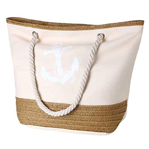 flintronic® Große Strandtasche mit Reißverschluss und Innentasche Wasserdicht Strandtasche, Einkaufstasche Shopper für Damen, Schultertasche Einkaufstasche - Pink