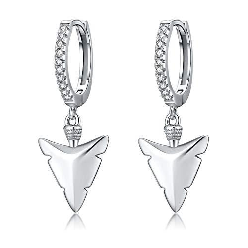 Herren Creolen Ohrringe 925 Sterling Silber Pfeilspitze Tribal Pfeil Ohrringe für Damen