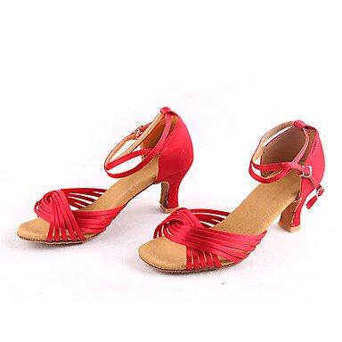 Scarpe da ballo-Non personalizzabile-Da donna-Balli latino-americani / Sneakers da danza moderna-Basso-Finta pelle-Nero / Marrone / Rosso Black/Red