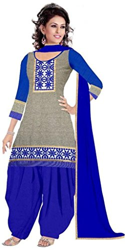 Strince\'sWomen\'s New Fashion Designer Fancy Wear Todays Low Price Best Special Offer All Type Of Modern Gray Colored Embroidered Patiyala Salwar Suit