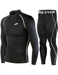 Skin Tight de compresión capa base manga larga debajo de camiseta y pantalones, color negro