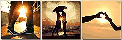 OBELLA New Wall Art Canvas Prints 3 Pieces || Romantic Love at Sunset || Modern Contemporary Posters Oil Paintings Prints and Pictures Photo Image Wall Art Prints on Canvas for Home Bedroom Living Room Wall Decor Christmas Gifts Decoration