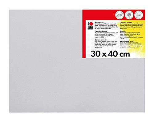 Marabu 1620000000301 - Malkarton, mit 280 g/qm Baumwolle kaschiert, 3 fach grundiert, leicht saugend, für Acryl-, Öl-, Gouache- und Temperafarben, ca. 30 x 40 cm, Kartonstärke ca. 0,4 cm, weiß - Fach 30x30