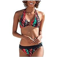 Sylar Mujer Trajes de Baño Dos Piezas Sexy Bañadores de Mujer Cuello Halter Conjunto de Bikini Push Up con Relleno Traje de Baño 2 Piezas Estampado Bañador de Natación
