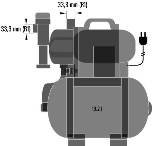 Einhell BG-WW 1136 Hauswasserwerk, 1100 Watt, 3600 l/h Fördermenge, 19,2 l Behälter, Edelstahlanschlüsse, Manometer - 9