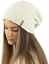 d1669b92850a TOSKATOK® Ladies Mens Unisex Warm Winter Textured Knit Slouch Beanie hat  with Cosy Faux Fur