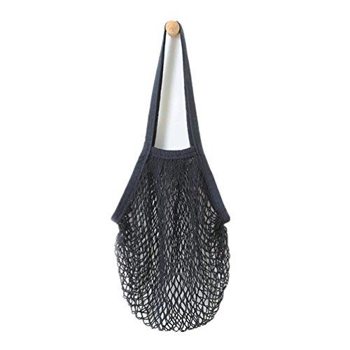 Einkaufstasche Netztasche,Hffan Neu Mesh Tasche Kette Tasche Beutel Wieder Verwendbar Obst Tasche Beutel Tank,Netz Tuch Wiederverwendbar Einkaufen Mesh Tasche Umhängetasche (38 * 48,2 cm, Schwarz) -