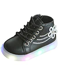 Zapatos Bebé K-youth Zapatillas Niños LED Luz Sneakers Luminous Chica Chico Flores Zapatillas Unisex Niños Zapatillas de Deporte con Cordones Botas Niña Zapatillas Niña Luces