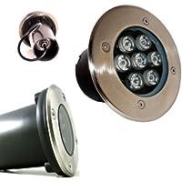 Foco empotrable LED de exterior (7 W, 3500 K, IP68) señalizador de caminos, se puede pisar