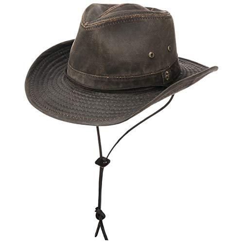 Stetson Diaz Outdoorhut Herren - Westernhut mit Kinnband und biegbarem Rand - Cowboyhut mit UV-Schutz 40+ - Stoffhut mit Baumwolle im Washed/Used Design - Hut Sommer/Winter braun XL (60-61 cm)
