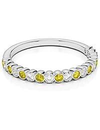 18KT oro blanco 0,18ct certificado g-H/VS corte redondo amarillo zafiro y diamante Half Eternity Ring agdr-1101
