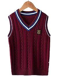 Chaleco de Punto Niños Cuello V Suéter Jersey Uniforme de Colegio para Bebé  ... 9514f36bdec1