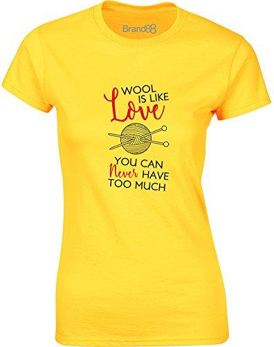 Brand88 - You Can Never Have Too Much Wool, Gedruckt Frauen T-Shirt Gänseblümchen-Gelb/Schwarz