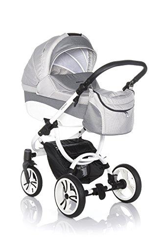 rnes Travelsystem Kinderwagen Babywagen Buggy Kinderwagen System + Wickeltasche + Regenschutz + Insektenschutz (2in1: Babywanne + Sportsitz, W33W GRAU-KARIERT WEIß) (Karierte Wickeltasche)