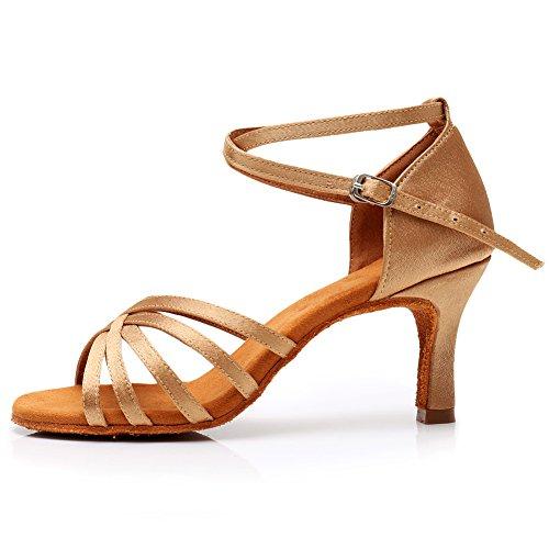 HROYL Zapatillas de Baile de salón de satén Mujer Zapatos de Baile Latino LP-213-7 Beige 37 EU