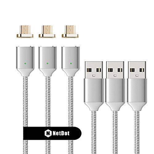 NetDot 3 Pack 2. Generation 1m / 3.3ft Nylon geflochten USB2.0 Schnellladung magnetisches Micro-USB-Kabel mit LED-Anzeige kompatibel mit Android-Gerät (1m / 3 Silber)