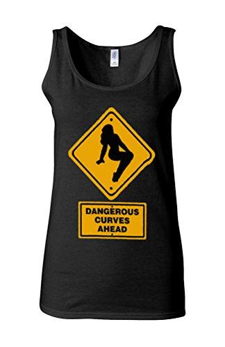 Dangerous Curves Ahead Sexy Lady Novelty White Femme Women Tricot de Corps Tank Top Vest *Noir