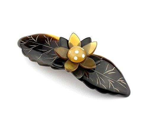 Barrette clip en véritable corne - Fleur de lotus incrustée de nacre