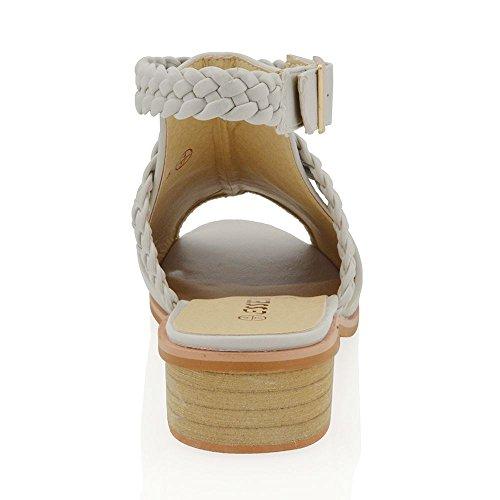 Das Livre Calcanhar Sapatos Sandálias Fetter Em Essex Senhoras Pele Baixos Glam Cinza Cinto Do Tecidas Toe De rqrPz8